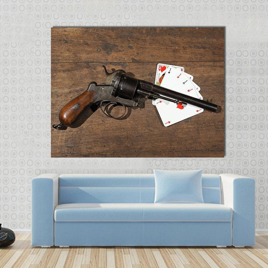 Gun On A Table Of Poker Players Multi Panel Canvas Wall Art 4 Horizontal / Small / Gallery Wrap Tiaracle