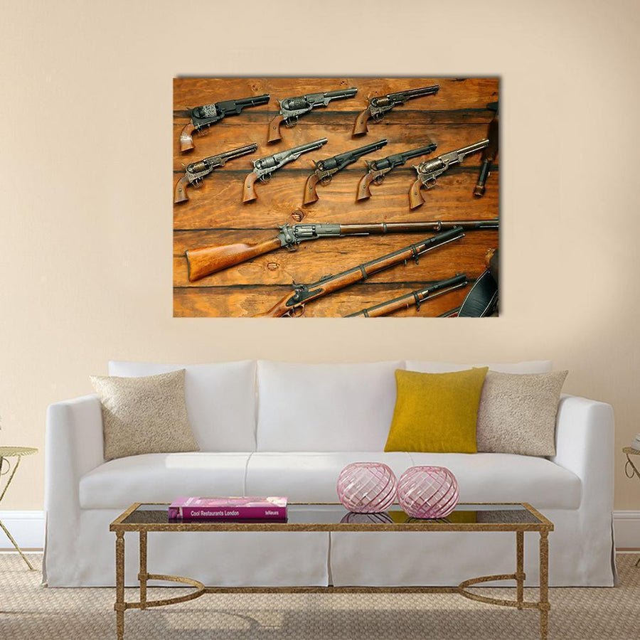 Guns And Rifles Multi Panel Canvas Wall Art 4 Horizontal / Small / Gallery Wrap Tiaracle