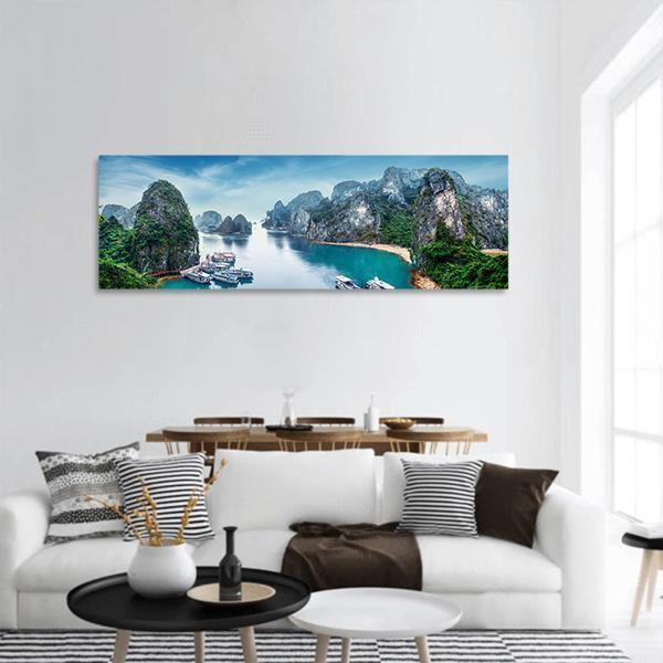 Ha Long Bay In Vietnam Panoramic Canvas Wall Art Tiaracle