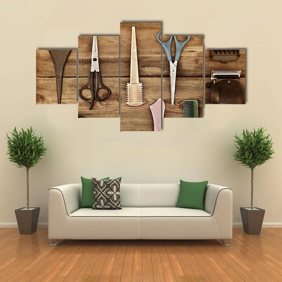 Hairdressing Accessories Multi Panel Canvas Wall Art 5 Pieces(A) / Medium / Canvas Tiaracle