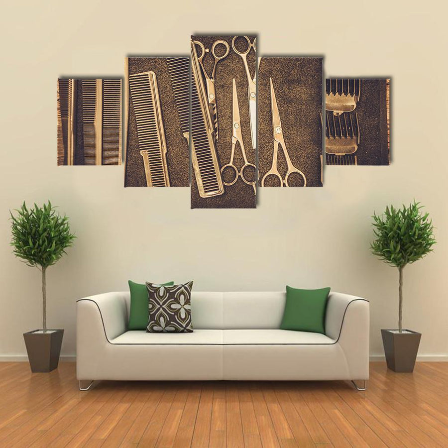 Hairstylist's Accessories In Barber Shop Multi Panel Canvas Wall Art 5 Pieces(A) / Medium / Canvas Tiaracle