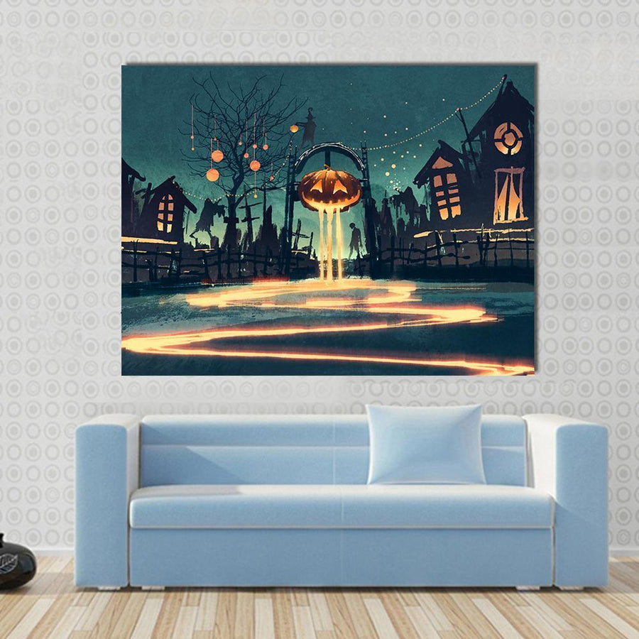 Halloween Night Canvas Wall Art-4 Horizontal-Small-Gallery Wrap-Tiaracle