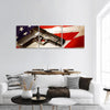 Handgun Lying On American Flag Panoramic Canvas Wall Art 3 Piece / Small Tiaracle