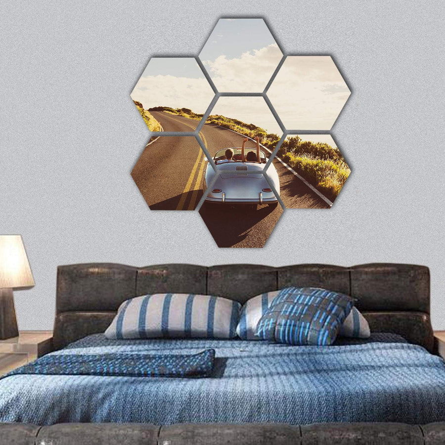 Happy Couple Driving Hexagonal Canvas Wall Art 1 Hexa / Small / Gallery Wrap Tiaracle
