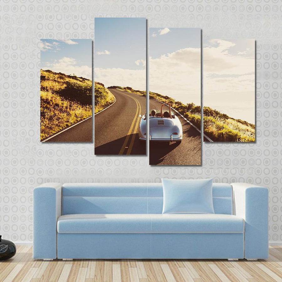 Happy Couple Driving On Country Road In Classic Vintage Sports Car Canvas Panel Painting Tiaracle