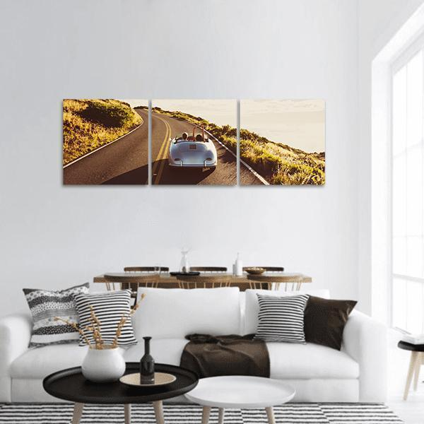 Happy Couple Driving Panoramic Canvas Wall Art Tiaracle