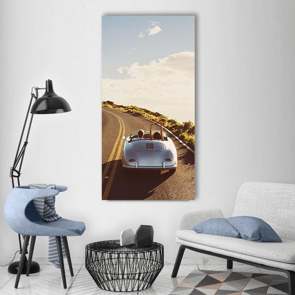 Happy Couple Driving Vertical Canvas Wall Art 3 Vertical / Small / Gallery Wrap Tiaracle