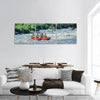 Happy family Rafting In River Panoramic Canvas Wall Art 3 Piece / Small Tiaracle