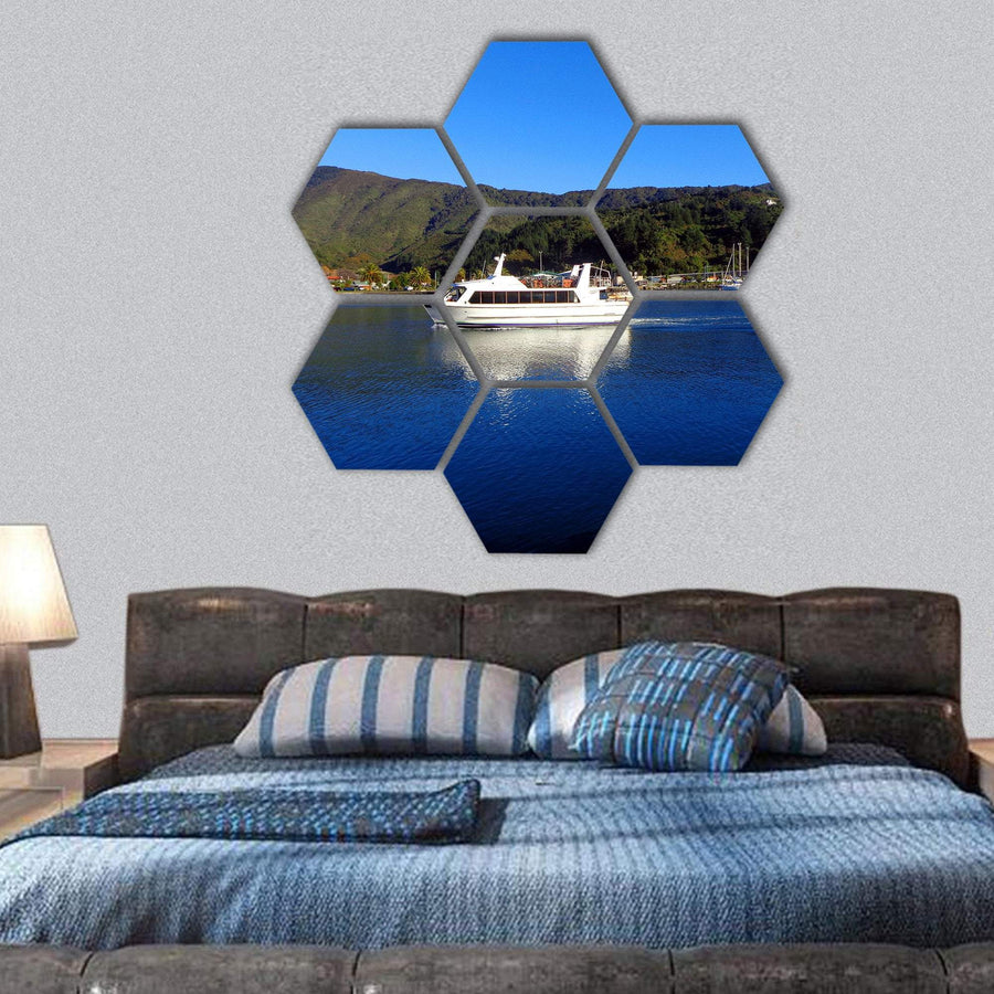 Harbor Of Picton, New Zealand Hexagonal Canvas Wall Art 1 Hexa / Small / Gallery Wrap Tiaracle
