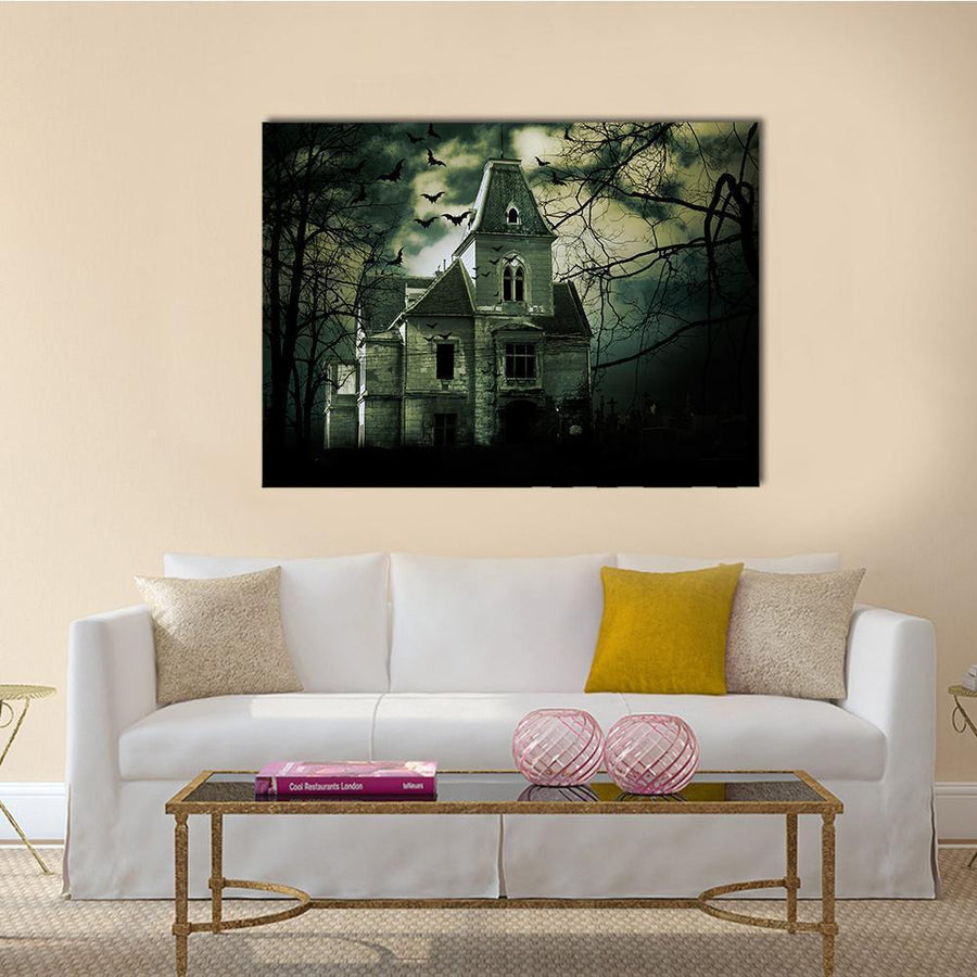 Haunted House Canvas Wall Art-4 Horizontal-Small-Gallery Wrap-Tiaracle