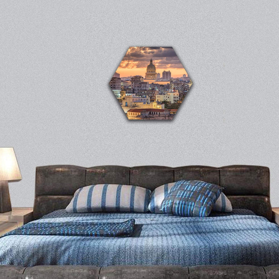 Havana In Cuba Downtown Skyline Hexagonal Canvas Wall Art 7 Hexa / Small / Gallery Wrap Tiaracle