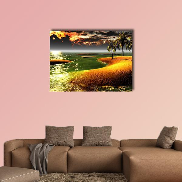 Hawaiian Sunset In Tropical Paradise Multi Panel Canvas Wall Art 3 Pieces / Small / Gallery Wrap Tiaracle