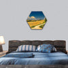 Hay Bales On Harvested Field Hexagonal Canvas Wall Art 1 Hexa / Small / Gallery Wrap Tiaracle