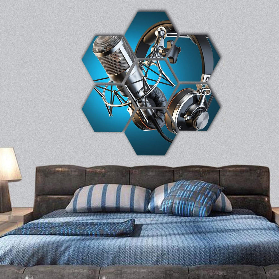 Headphones On Microphone Stand Hexagonal Canvas Wall Art 1 Hexa / Small / Gallery Wrap Tiaracle
