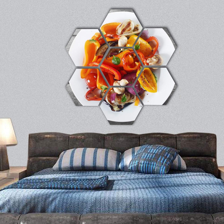 Healthy Recipe With Mushrooms And Spices On White Plate Hexagonal Canvas Wall Art 1 Hexa / Small / Gallery Wrap Tiaracle
