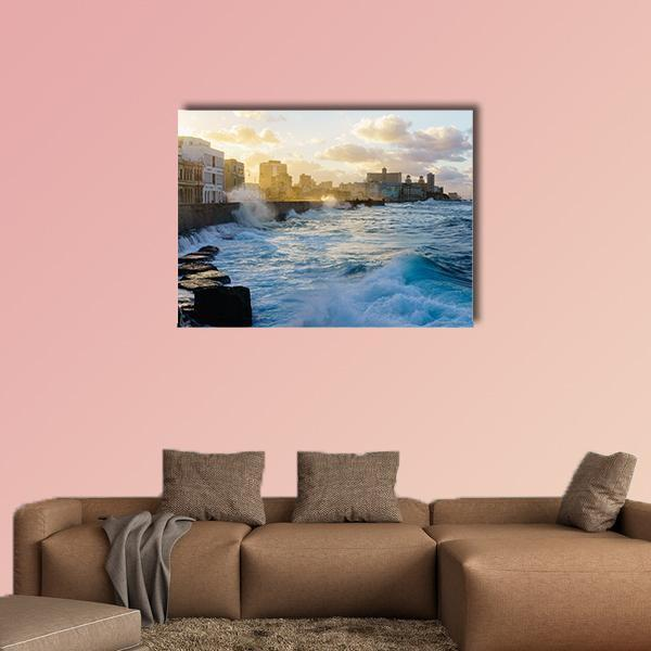 Heavy Swell In The Havana Seafront Multi Panel Canvas Wall Art 5 Pieces(B) / Medium / Canvas Tiaracle