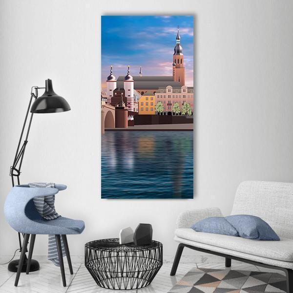 Abstract Panorama Of Heidelberg Vertical Canvas Wall Art 3 Vertical / Small / Gallery Wrap Tiaracle