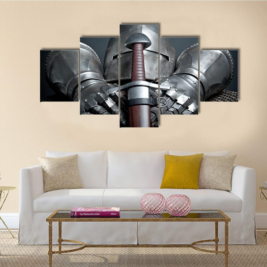 Knights Armor With Helmet gloves And Sword Multi Panel Canvas Wall Art 5 Pieces(A) / Medium / Canvas Tiaracle