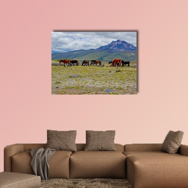 Herd Of Beautiful Wild Horses Multi Panel Canvas Wall Art 3 Pieces / Small / Gallery Wrap Tiaracle