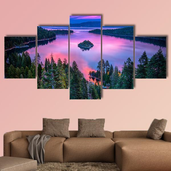 High Angle View Of Lake Tahoe Multi Panel Canvas Wall Art 5 Pieces(A) / Medium / Canvas Tiaracle