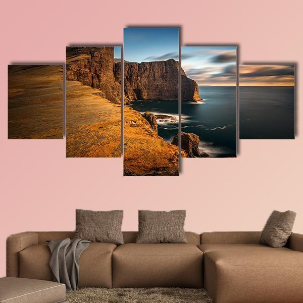 High Cliffs of Vagar Island in Sunset Multi Panel Canvas Wall Art 3 Pieces / Medium / Canvas Tiaracle