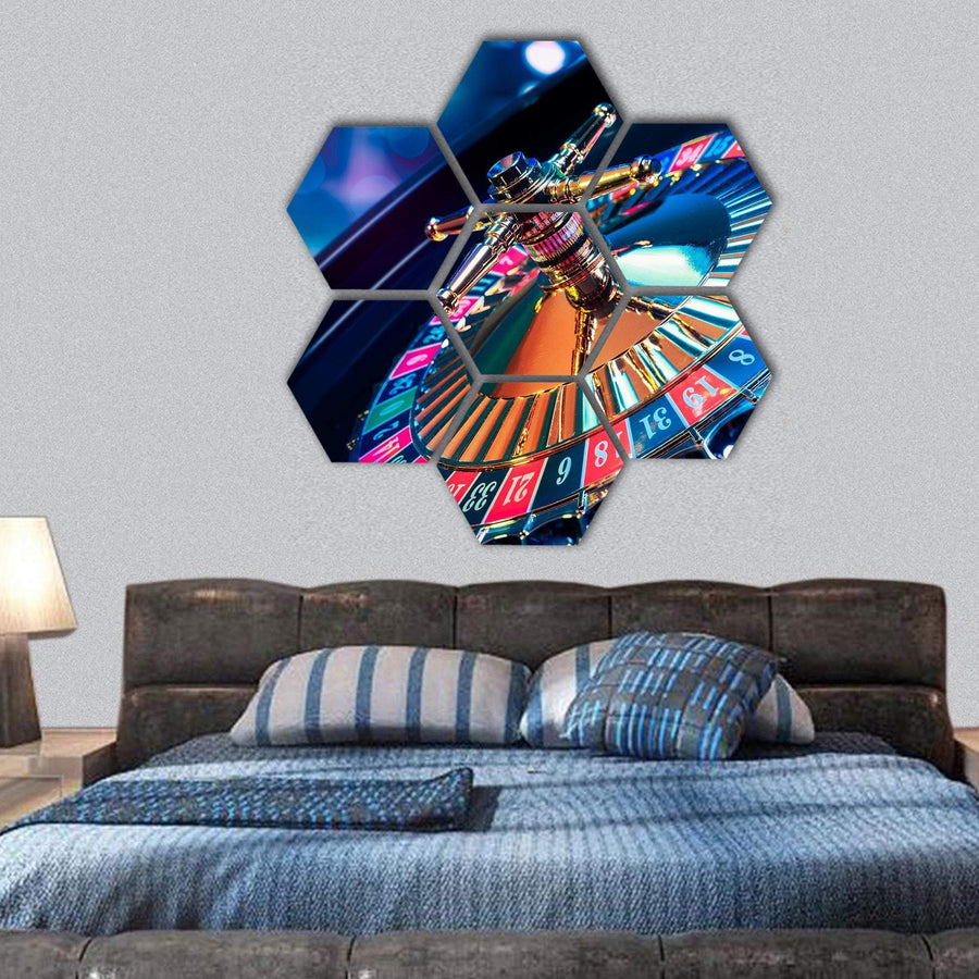 High Contrast Image Of Casino Roulette Hexagonal Canvas Wall Art 1 Hexa / Small / Gallery Wrap Tiaracle
