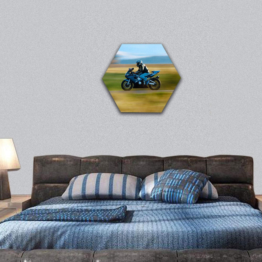 High Speed Motorbike In Field Hexagonal Canvas Wall Art 7 Hexa / Small / Gallery Wrap Tiaracle