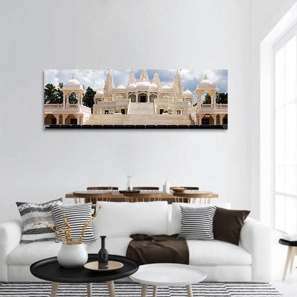 Hindu Temple In Atlanta Panoramic Canvas Wall Ar 3 Piece / Small Tiaracle