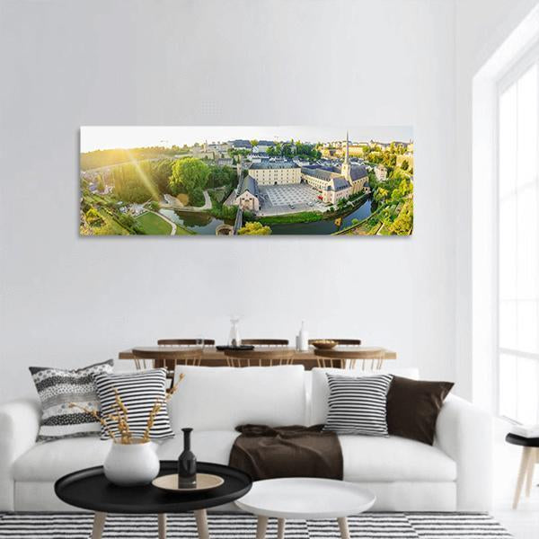 Historical View Of Luxembourg At Sunrise Panoramic Canvas Wall Art 3 Piece / Small Tiaracle