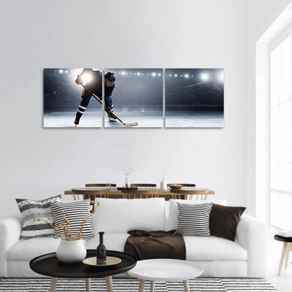 Hockey Player At Ice Rink Panoramic Canvas Wall Art 1 Piece / Small Tiaracle