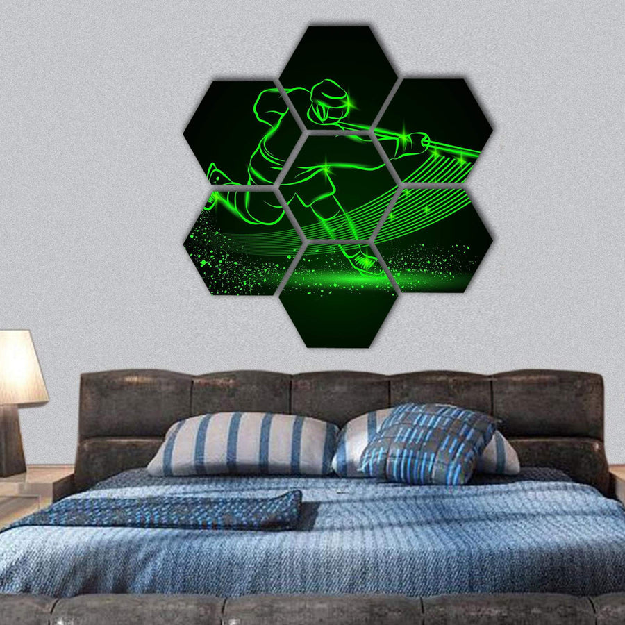 Hockey Player In Motion Hexagonal Canvas Wall Art 1 Hexa / Small / Gallery Wrap Tiaracle
