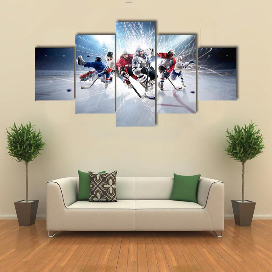 Professional Hockey Players In Action Canvas Panel Painting Tiaracle
