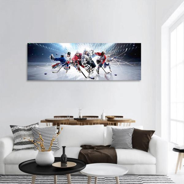 Hockey Players In Action Panoramic Canvas Wall Art 3 Piece / Small Tiaracle