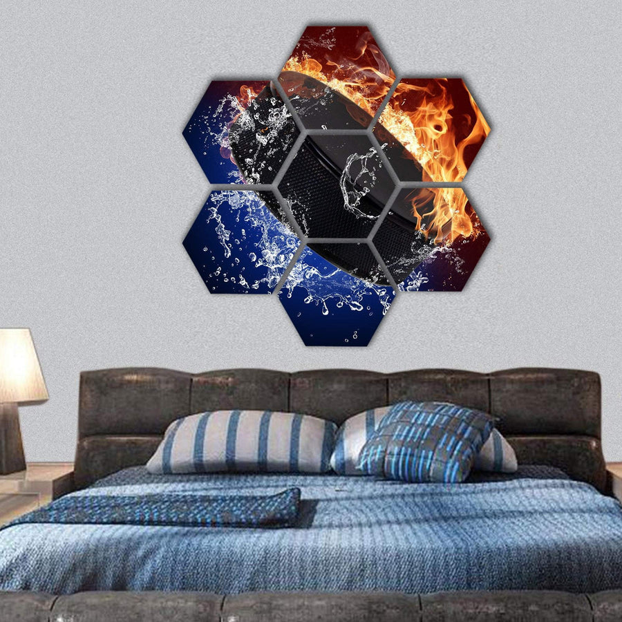 Hockey Puck In Fire Flames Hexagonal Canvas Wall Art 1 Hexa / Small / Gallery Wrap Tiaracle