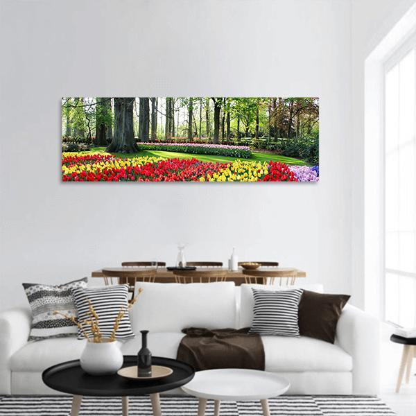Holland Tulips In Spring Panoramic Canvas Wall Art 3 Piece / Small Tiaracle