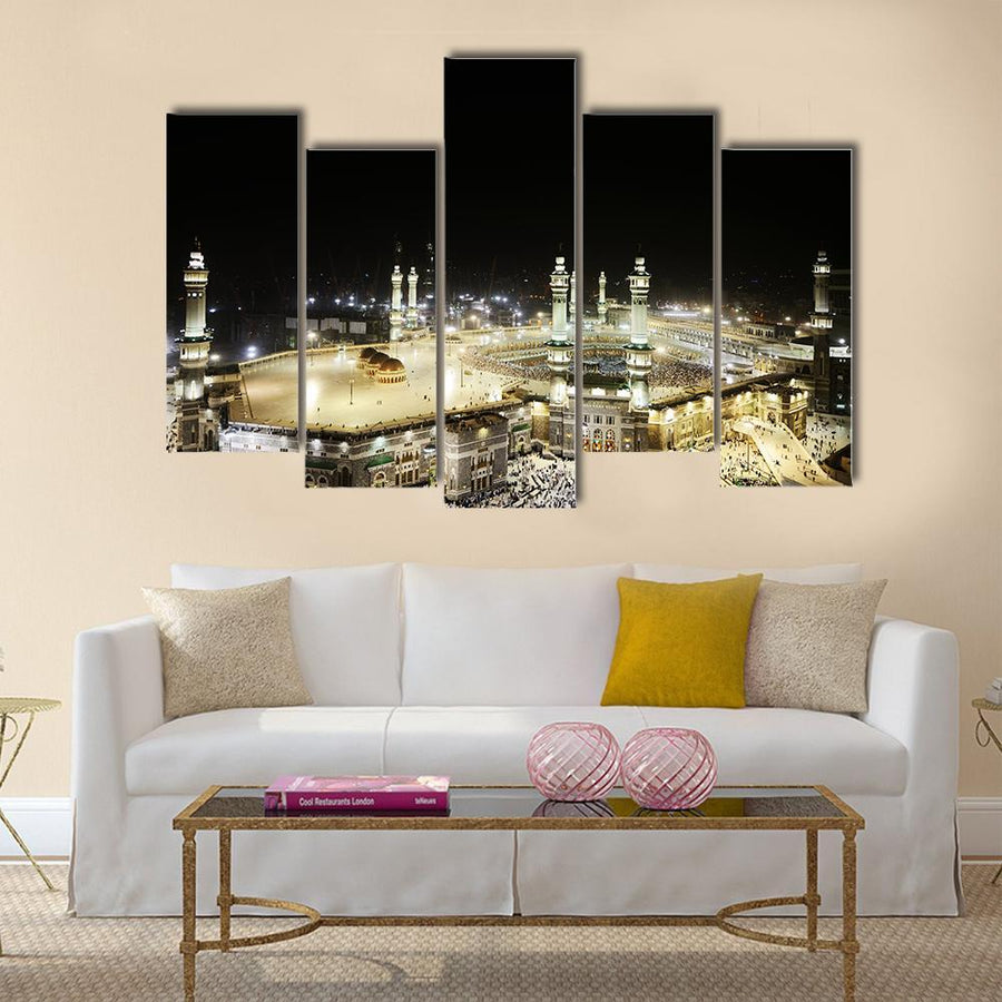 Full View Of Holy Kaaba At Night, Mecca, Saudi Arabia Canvas Panel Painting Tiaracle