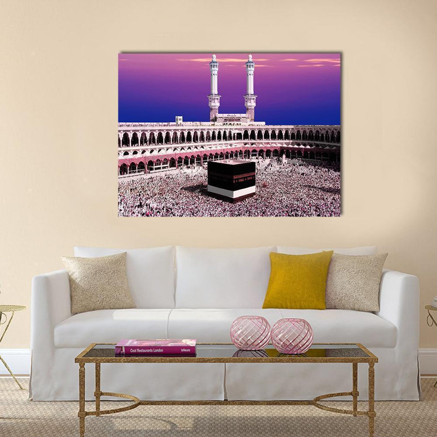 Holy Kaaba, Mecca During Twilight Multi Panel Canvas Wall Art 4 Horizontal / Small / Gallery Wrap Tiaracle