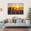 Horse Riding On Beach At Sunset Multi Panel Canvas Wall Art-4 Horizontal-Small-Gallery Wrap-Tiaracle