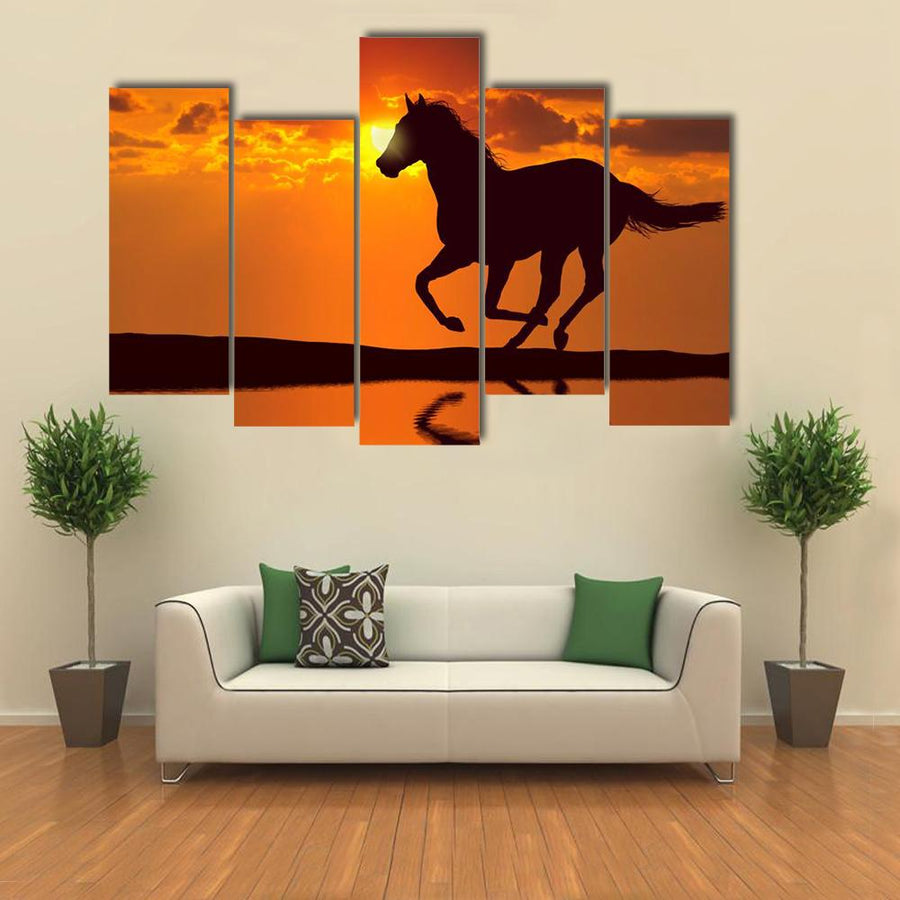 Horse Running During Sunset Multi Panel Canvas Wall Art-4 Pop-Small-Gallery Wrap-Tiaracle