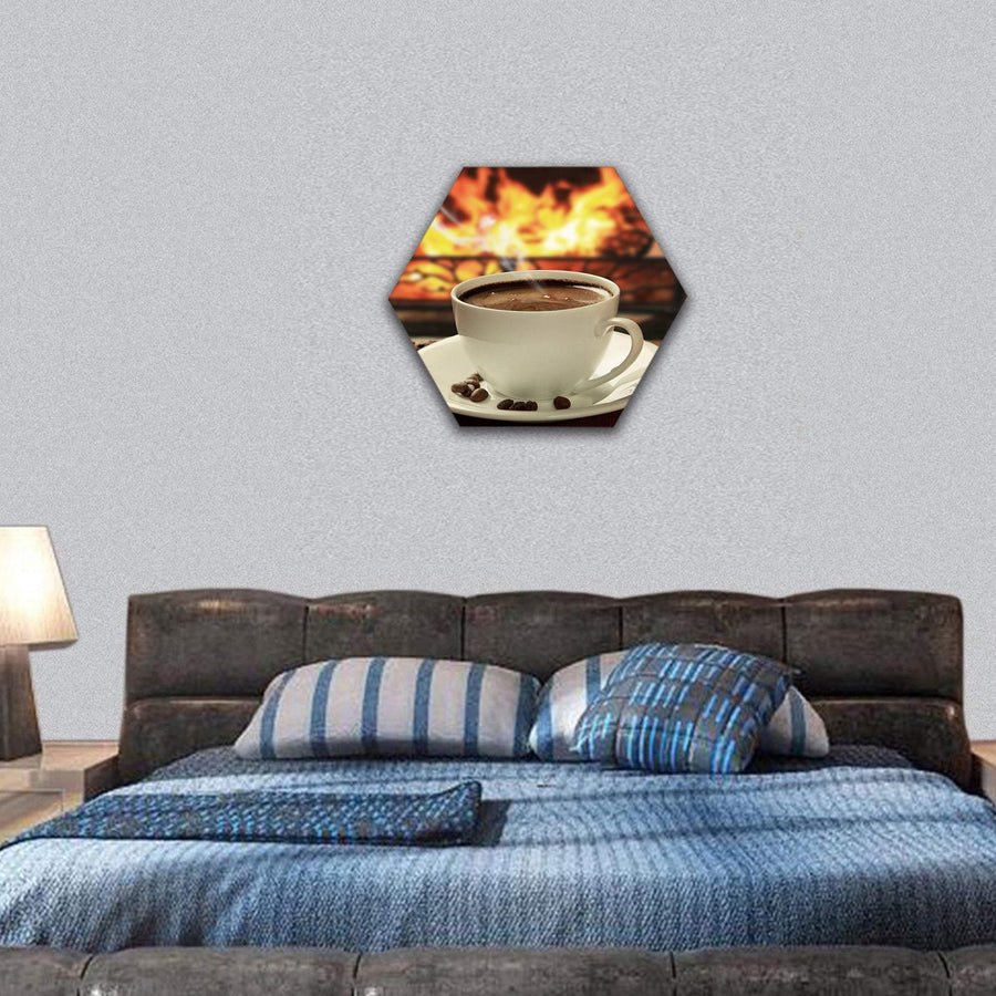 Hot Coffee Near Fireplace Hexagonal Canvas Wall Art 7 Hexa / Small / Gallery Wrap Tiaracle