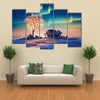 House And Tree Lights Under Northern Lights Multi Panel Canvas Wall Art 5 Pieces(A) / Medium / Canvas Tiaracle