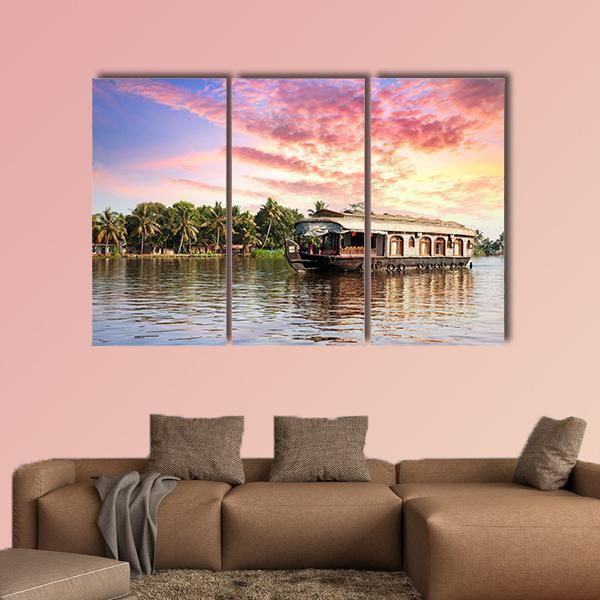 House Boat In Kerala India Multi Panel Canvas Wall Art 5 Pop / Medium / Gallery Wrap Tiaracle