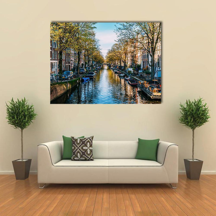 Dutch Houses And Houseboats On Amsterdam Canal Multi Panel Canvas Wall Art 4 Pieces / Medium / Canvas Tiaracle