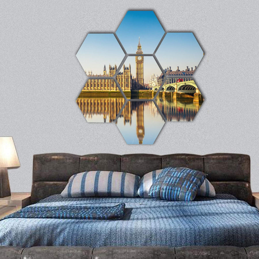 Houses Of Parliament In A Day Hexagonal Canvas Wall Art 1 Hexa / Small / Gallery Wrap Tiaracle
