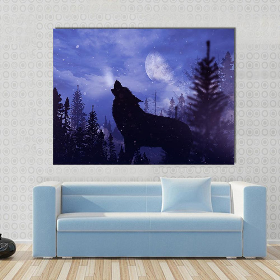 Howling Wolf In Forest Panel Painting Panel Painting Tiaracle