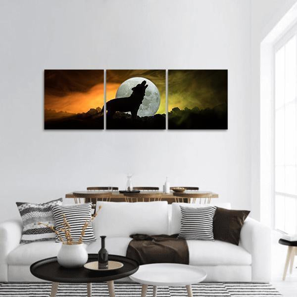 Howling Wolf In Full Moon Panoramic Canvas Wall Art 1 Piece / Small Tiaracle