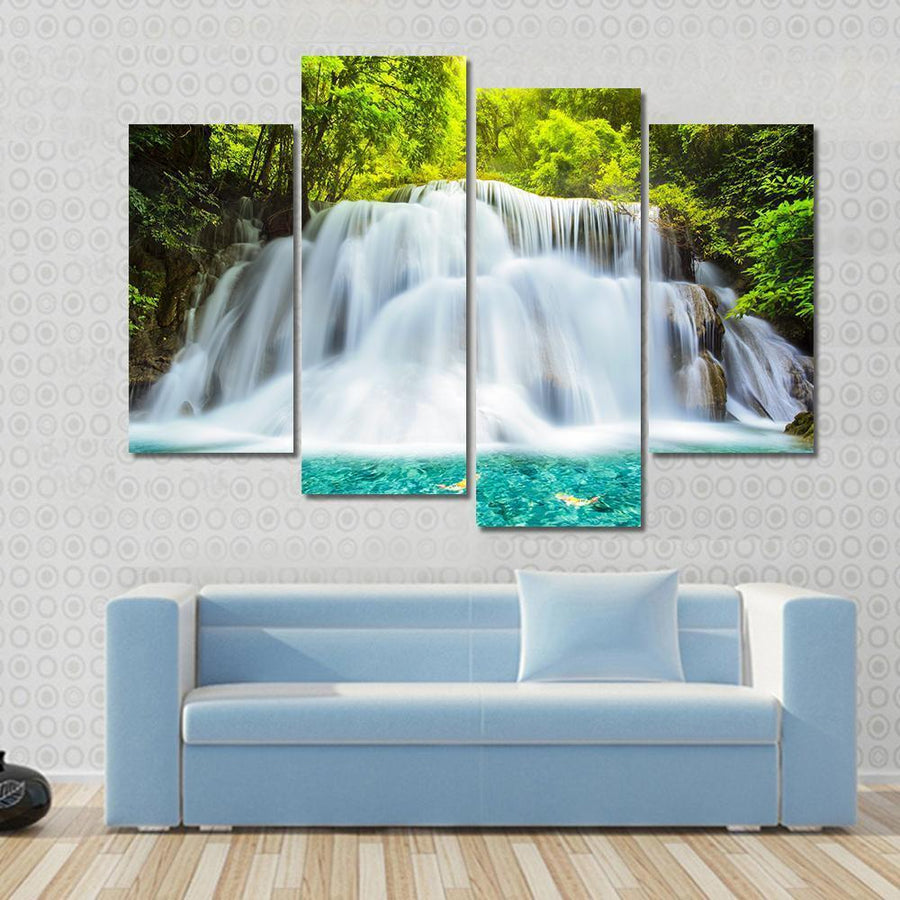 Huai Mae Kamin Waterfall In Kanchanaburi Province, Thailand Multi Panel Canvas Wall Art 3 Pieces / Small / Gallery Wrap Tiaracle