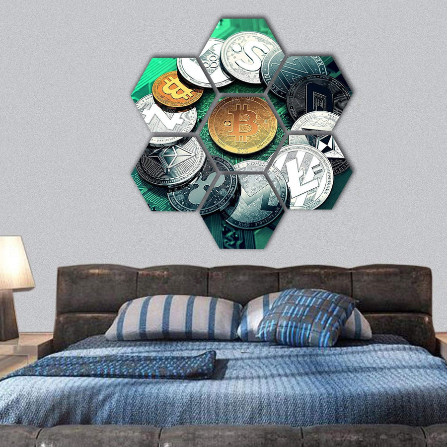 Huge Stack Of Cryptocurrencies Hexagonal Canvas Wall Art 1 Hexa / Small / Gallery Wrap Tiaracle