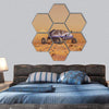 Human Vehicle On Mars Hexagonal Canvas Wall Art 7 Hexa / Small / Gallery Wrap Tiaracle