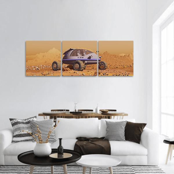Human Vehicle On Mars Panoramic Canvas Wall Art 1 Piece / Small Tiaracle